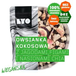 Liofilizowana owsianka kokosowa z jagodami, figami, chia 300 g Lyofood