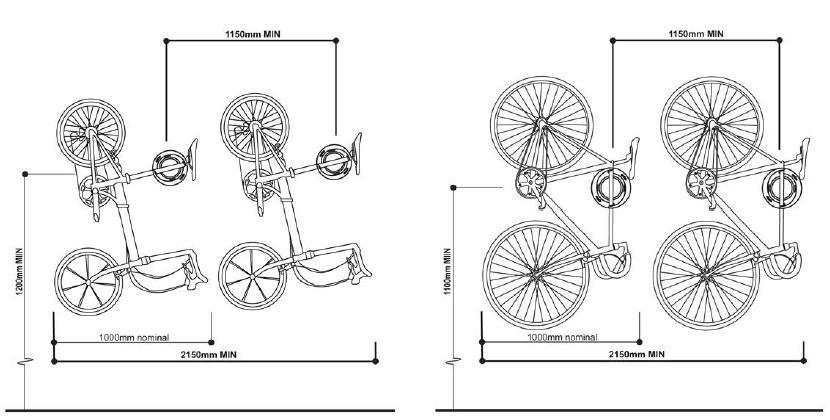 Instrukcja wieszania roweru w pionie.