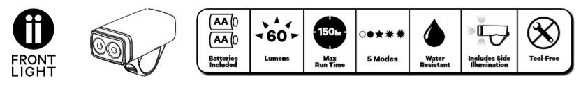 Specyfikacja  lampki Knog Pop II