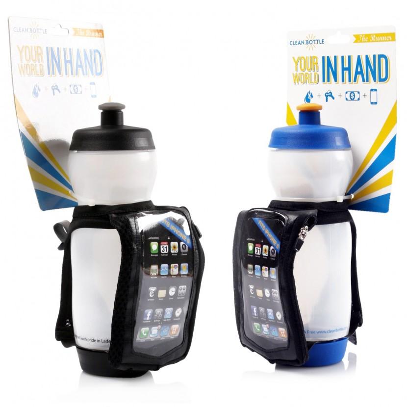 Bidon dla biegaczy Clean Bottle 650 ml + uchwyt na smartfon