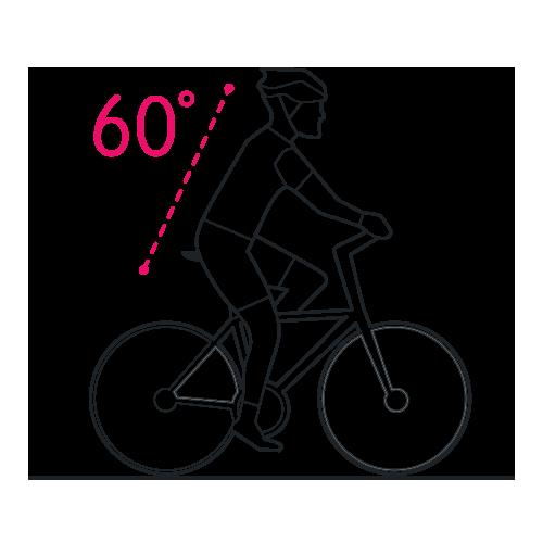 pozycja pochylenia rowerzysty o 60 st dla siodełka selle royal moderate